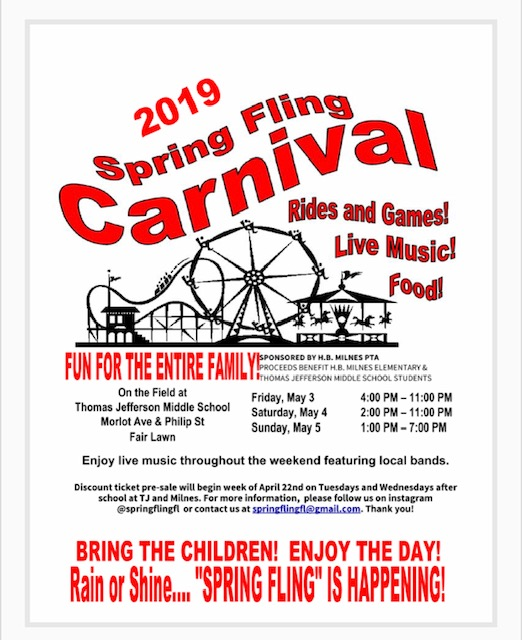 Spring Fling Carnival 2019 – Fair Lawn, NJ | NJ Carnivals